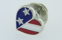 Patriotic American Flag Heart Red White & Blue Enamel Tie Tack Pin in 18k White Gold