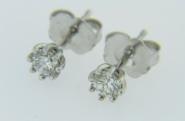 Timeless 0.32ctw Round Diamond 8 Prong Stud Earrings in 14k White Gold Very Fine