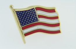 Patriotic American Flag Red White & Blue Enamel Tie Tack Pin in 14k Yellow Gold
