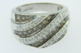 Contemporary 1.5ctw White & Black Diamond Wave Band Ring in 14k White Gold Size 8