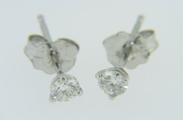 Timeless 0.50ctw Round Diamond Martini Style Stud Earrings in 14k White Gold