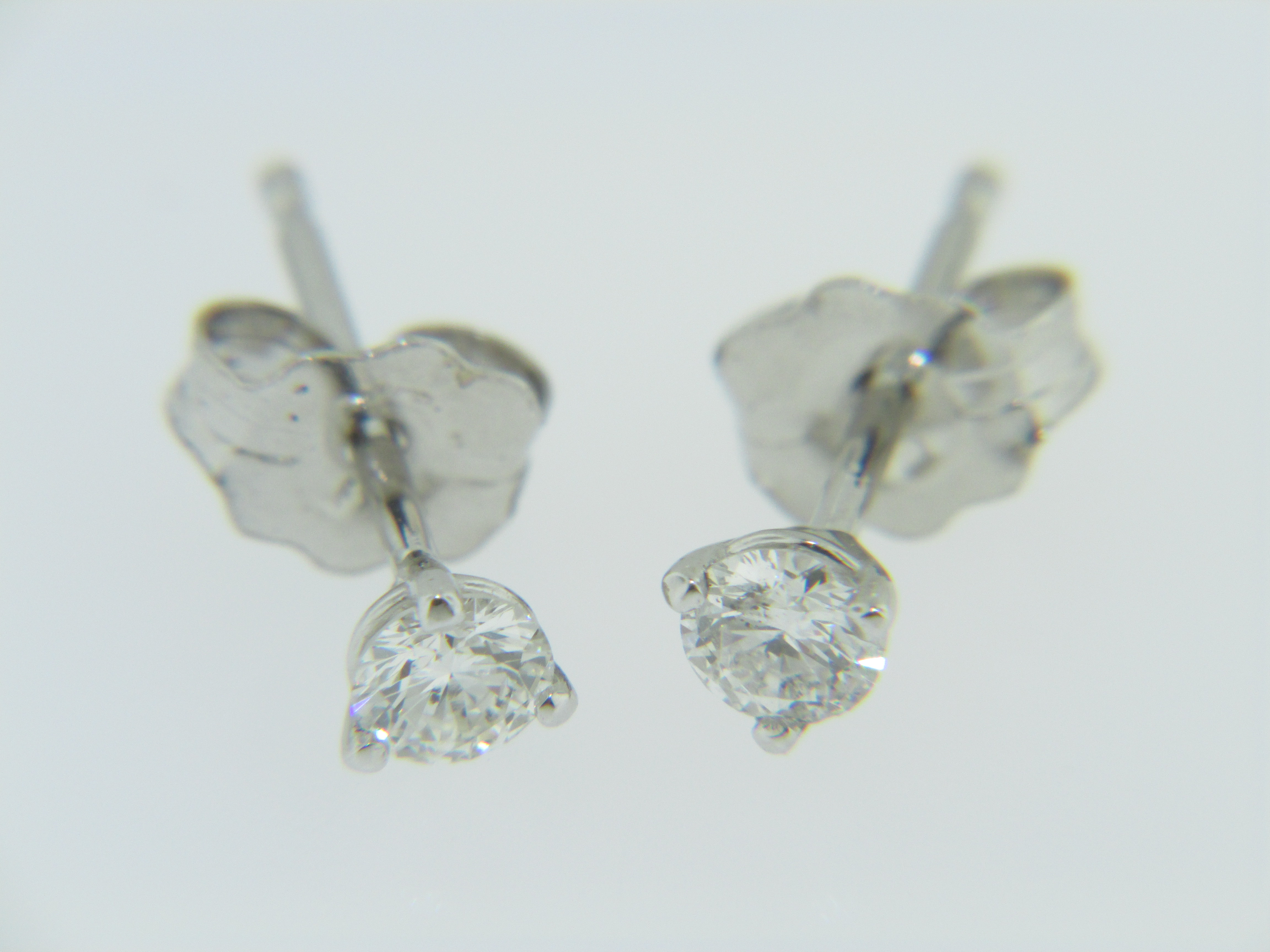 Timeless 050ctw Round Diamond Martini Style Stud Earrings In 14k White Gold