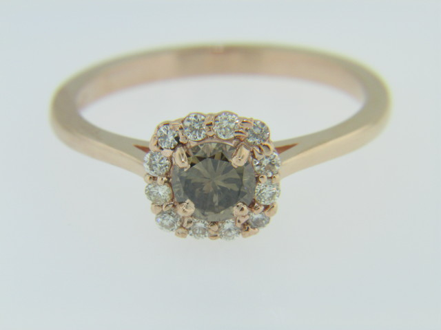0.72ctw Champagne & White Diamond Halo Engagement Ring in 14k Rose Gold Size 7.25