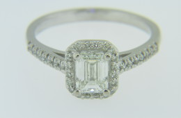 1.15ctw Emerald Cut Diamond Halo Engagement Ring in 14k White Gold Size 7