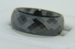 Contemporary Chisel Faceted Polished Black Hi-tech Ceramic Wide Band Ring Size 8