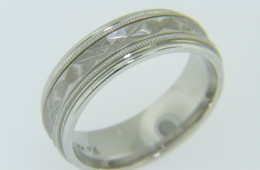 Contemporary Unique Textured Design Wedding Band Ring in 14k White Gold Size 6