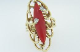Vintage Navette Shaped Coral & Diamond Whimsical Loop Design Ring in 14k Yellow Size 4