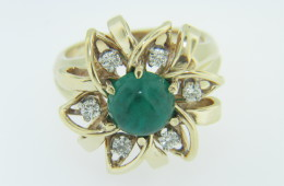 1960's 1.90ctw Cabochon Emerald & Diamond Flower Ring in 14k Yellow Gold Size 6
