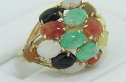 Vintage 1950's Multi-color Oval Jade Cluster Dome Ring in 14k Yellow Gold Size 5.5