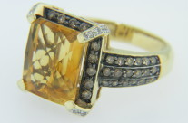 LeVian Citrine, Chocolate Diamond & White Diamond Ring in 14k Yellow Gold Size 7