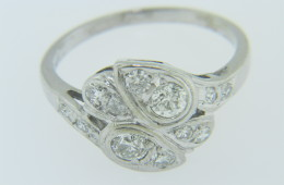 Vintage 0.75ctw Old Cut Diamond Unique Leaf Design Ring In 14k White Gold Size 7