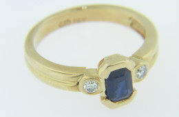 Vintage 0.75ct Sapphire & Diamond Ring Fine in 14k Yellow Gold Size 6.5