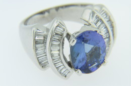 Vintage 6.0ctw Oval Tanzanite & Baguette Diamond Ring in 14k White Gold Size 6.75