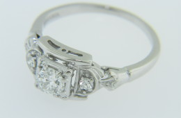 Vintage Jabel 0.30ctw Old Cut Diamond Engagement Ring in 18k White Gold Size 5.5