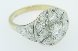Vintage Two Tone Round Diamond Open Design Engagement Ring Platinum Size 6