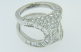 Unique 5.0ctw Pave Round & Baguette Diamond Domed Open Frame Band Ring in 18k White Gold Size 7