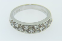 Levian Pave Round White & Chocolate Diamond Band Ring in 14k White Gold Size 6.75