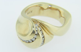 Vintage 0.50ctw round diamond very unique wave ring in 14k yellow gold size 6.25