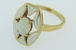 Vintage Unique Opal & White Enamel Open Design Ring in 14k Yellow Gold Size 6.5