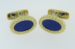 Vintage Oval Blue Lapis Lazuli Very Fine Textured Mens Cufflinks in 18k Yellow Gold