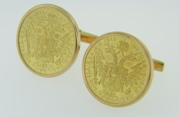 Vintage Austrian 1 Ducat Hungar Bohem Gal 1915 Coin Cufflinks in 18k Yellow Gold