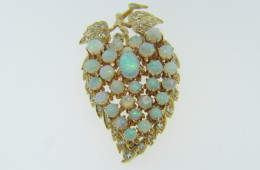 1970's 4.5ctw Australian Opal & Diamond Floral Brooch Pendant in 14k Yellow Gold
