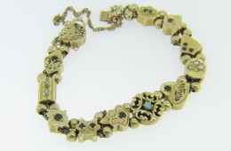 Vintage Antique Slide Charm Bracelet All Genuine Stones in 14k Yellow Gold 6.5""
