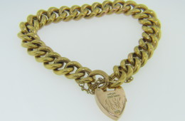 Vintage Cable Link Bracelet Fine Engraved Heart Pad Lock Closure in 9k Yellow Gold