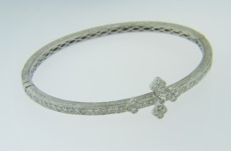 Fine 1.25ctw Round Cut Diamond Cross Design Bangle Bracelet in 18k White Gold