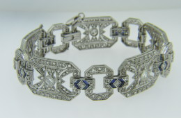 Art Deco 4.20ctw Old and Rose Cut Diamond & Sapphire Bracelet in 18k White Gold 7""