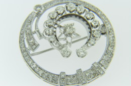 Art Deco 3.0ctw Diamond Whimsical Star Design Circle Brooch Pendant in Platinum