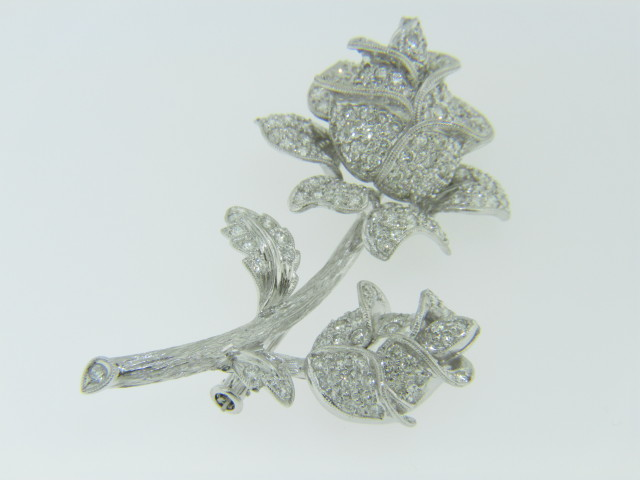 Vintage 4.0ctw Pave Set Diamond Rose Brooch Florentine Finished in 18k White Gold