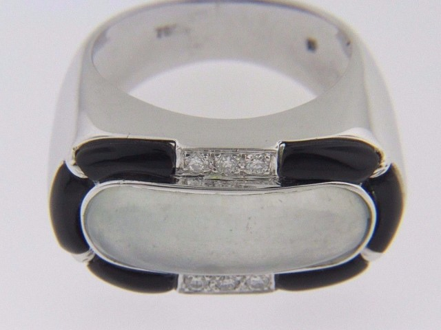 Vintage Oval Moonstone, Black Onyx & Diamond Band Ring In 18k White Gold Size 6