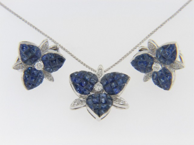 Vintage 6.61ctw Sapphire & Diamond Flower Earrings & Necklace Set in 18k White Gold