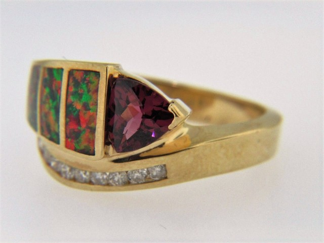 Vintage Trillion Cut Rhodolite Garnet, Inky Opal & Diamond Band Ring In 14k Yellow Gold Size 6