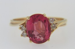 Vintage 2.38ctw Pink Tourmaline & Diamond Twist Ring in 14k Yellow Gold Size 5.75