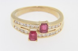Vintage Emerald Cut Ruby & Diamond Split Band Ring In 14k Yellow Gold Size 5.25