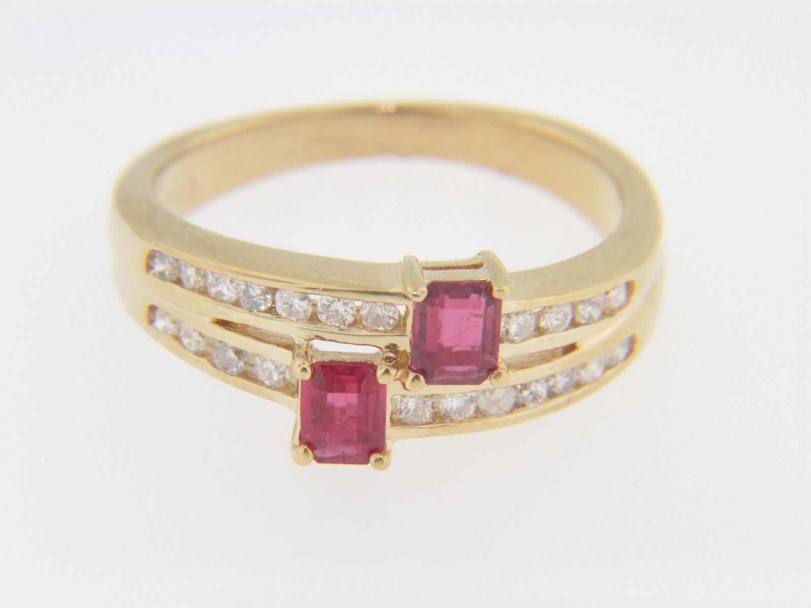 Vintage Emerald Cut Ruby & Diamond Split Band Ring In 14k Yellow Gold Siz
