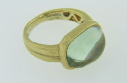 Cabochon Green Amethyst Hammered Design Ring in 18k Yellow Gold Size 6.5