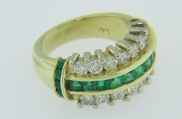 Vintage Princess & Round Cut Emerald & Diamond Band Ring in 18k Yellow Gold Size 5