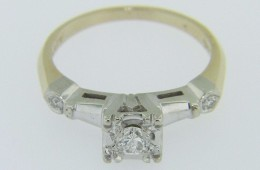 Vintage 0.20ctw Round Cut Diamond Engagement Ring Fine Two Tone 14k Gold Size 6