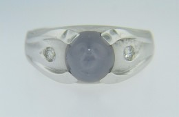 Unique Genuine Blue Star Sapphire & Diamond Signet Ring in 14k White Gold Size 6