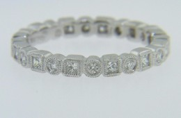 Stunning 1.0ctw Princess & Round Cut Diamond Eternity Band Ring in 18k White Gold Size 6.25