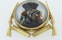 Exquisite Vintage Reverse Painting Brooch Of Hunting Dog With Duck & Rifles in 14k Yellow Gold