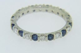 Timeless Round Cut Sapphire & Diamond Eternity Band Ring in 14k White Gold Size 6.5