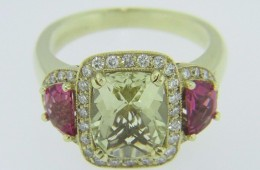 Unique Cushion Cut Citrine, Half Moon Pink Tourmaline & Diamond Ring in 14k Yellow Gold Size 6.5