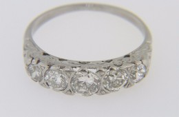 Vintage 0.62ctw Old Mine Cut Diamond Five Stone Ring in Platinum Size 5.25