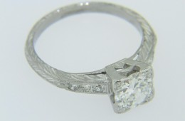 Vintage 1.1ct Old Mine Cut Round Diamond Engagement Ring Fine Platinum Size 7