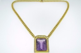 Vintage 34.5ctw Emerald Cut Amethyst & Diamond Pendant Necklace in 14k Yellow Gold