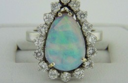 Exquisite 3.5ctw Pear Cut Opal & Diamond Halo Ring in 14k White Gold Size 5.5